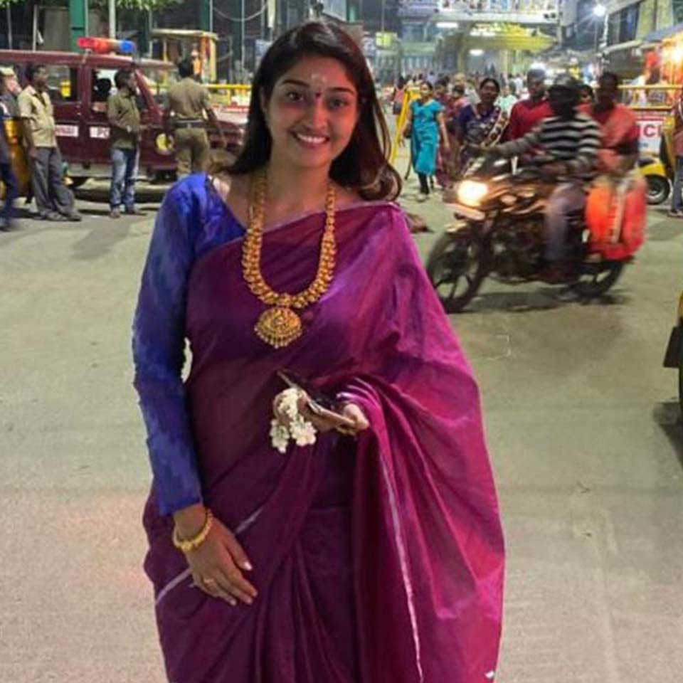 Neelima esai in Temple
