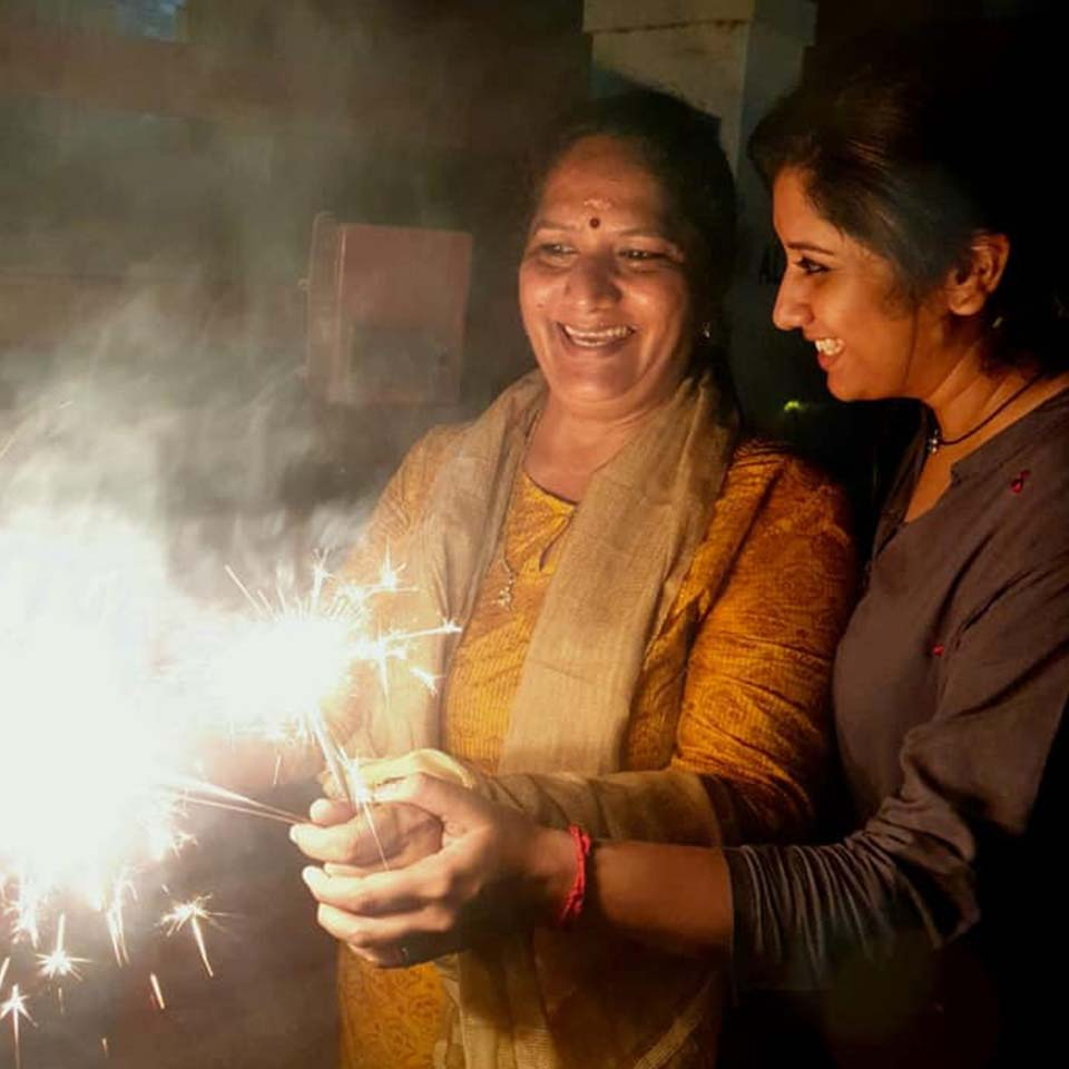 Priyanka with her mother